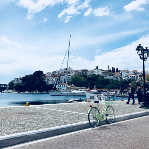 Skiathos Island Old Port with Classic Bicycle one fine day