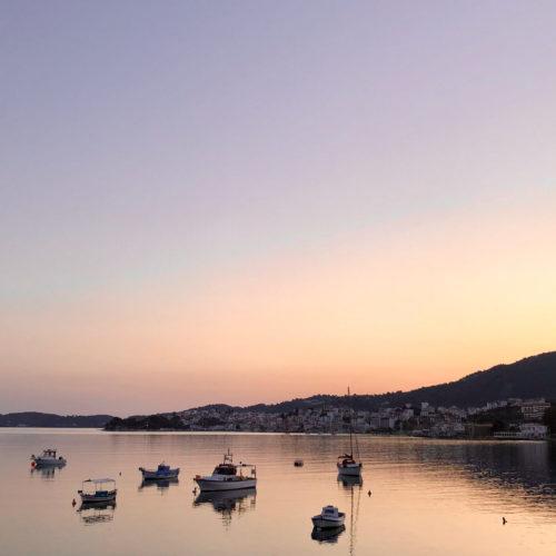 Skiathos Island Port View at Sunset